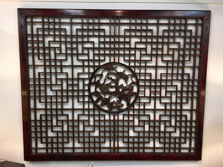 Asian Chinese Carved Mahogany Lattice Wall Sculpture Screen Panel Open Fretwork In Good Condition For Sale In West Hartford, CT