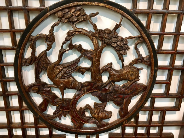 Elm Asian Chinese Carved Mahogany Lattice Wall Sculpture Screen Panel Open Fretwork For Sale