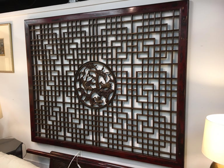 Asian Chinese Carved Mahogany Lattice Wall Sculpture Screen Panel Open Fretwork For Sale 1
