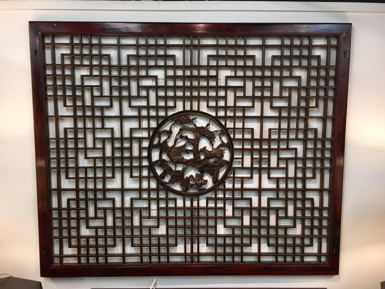 Asian Chinese Carved Mahogany Lattice Wall Sculpture Screen Panel Open Fretwork For Sale 2