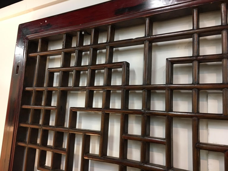 Asian Chinese Carved Mahogany Lattice Wall Sculpture Screen Panel Open Fretwork For Sale 3