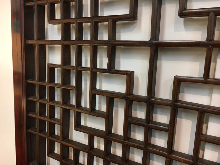 Asian Chinese Carved Mahogany Lattice Wall Sculpture Screen Panel Open Fretwork For Sale 4