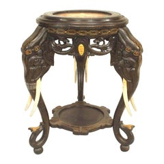 Asian Chinese Ebonized Elephant Head Table