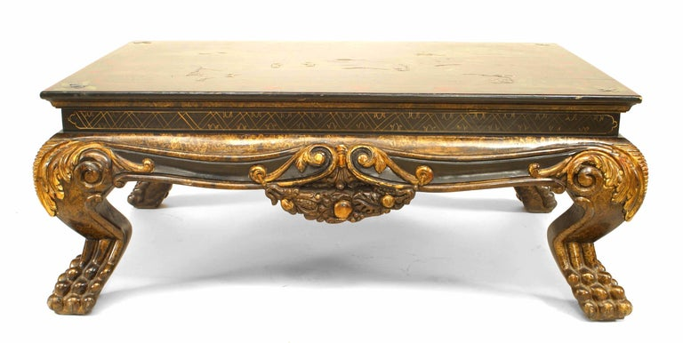 Asian Chinese style (19th-20th Century) carved and lacquered coffee table with a top having a landscape scene with figures and a floral border supported on cabriole claw form legs.