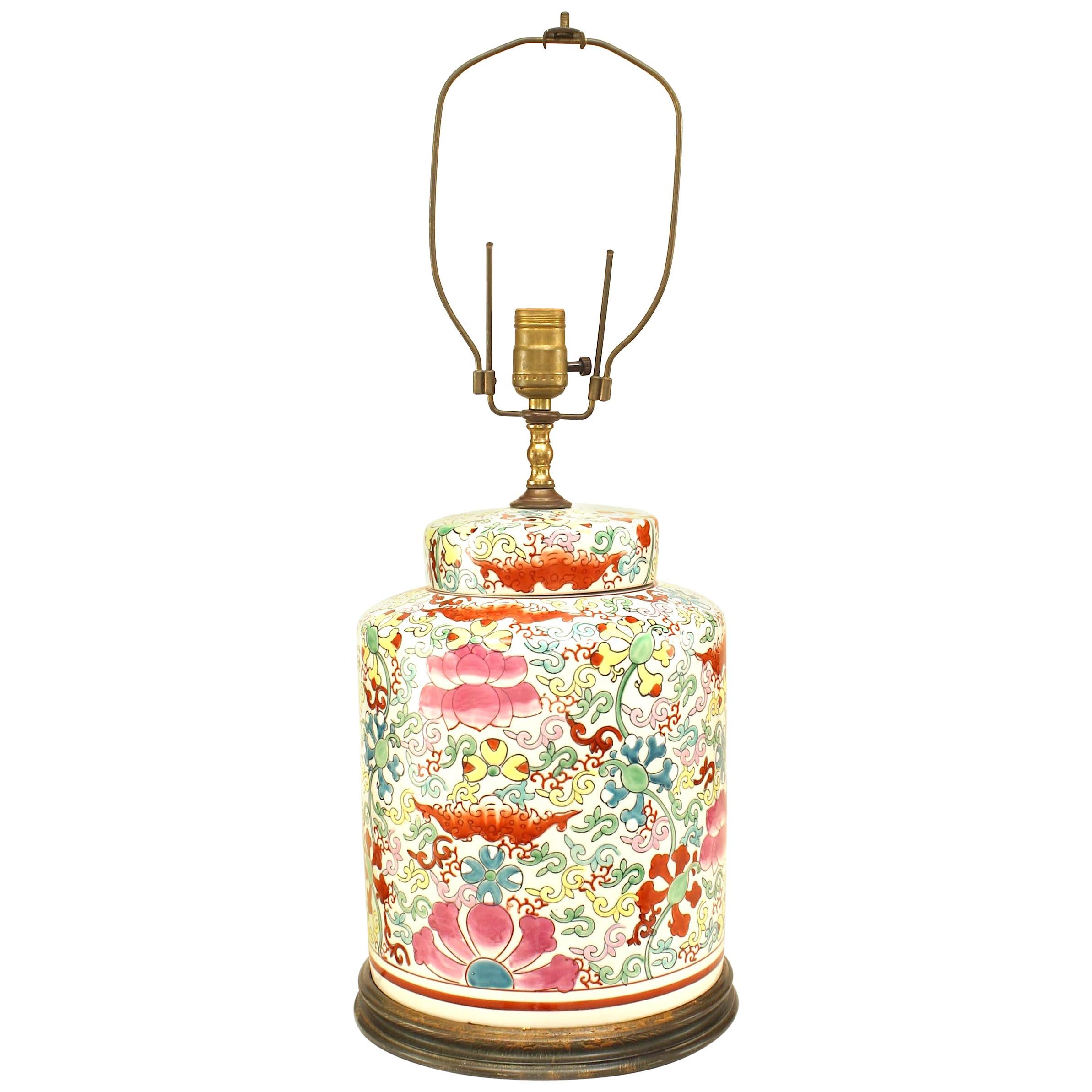 Asian Chinese Style '20th Century' Porcelain Ginger Jar Lamp