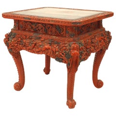 Asian Chinese Red Lacquered Tea Table