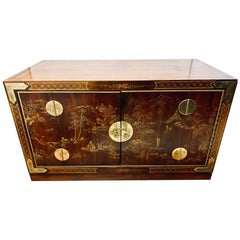 Asian Chinoiserie Brass Mounted Low Cabinet Chest Buffet Bar Chest Credenza