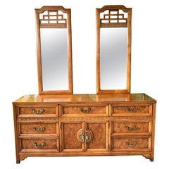 "Asian Chinoiserie Burl Dresser ""Mandarin"" Collection by Henry Link"