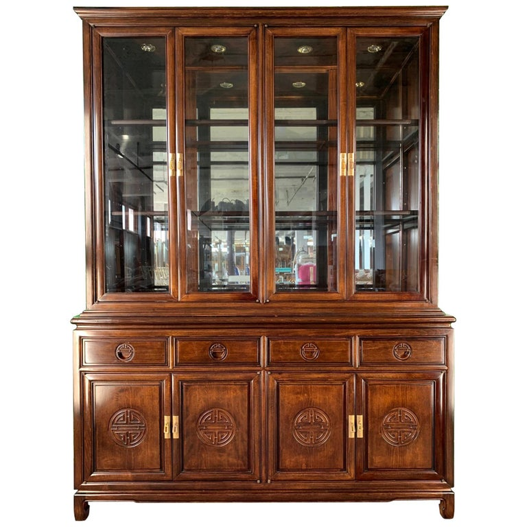 Asian Chinoiserie China Cabinet For Sale At 1stdibs