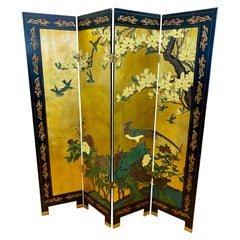 Asian Chinoiserie Four Panel Gold Leaf and Black Laquer Screen Room Divider