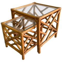 Asian Chinoiserie Rattan Nesting Tables
