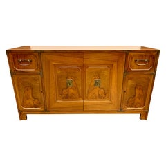 Asian Chinoiserie Style Baker Walnut Sideboard Credenza Console