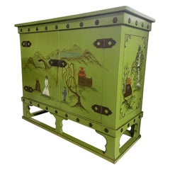 Asian Chinoiserie Style Bar Cabinet