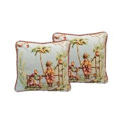 Pair of Asian Chinoiserie Throw Pillows