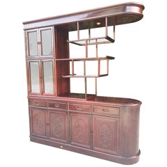 Asian Chinoiserie Two-sided Redwood China Cabinet