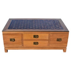 Asian Coffee Table with Antique Screen 8 Drawers