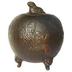 Asian Covered Jar Bronze Clad Ceramic