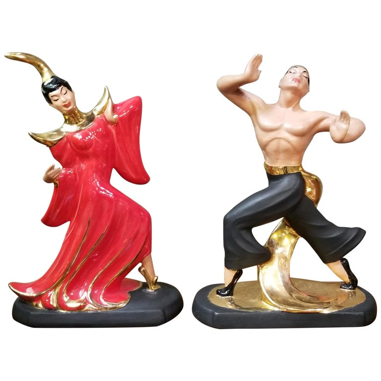Asian Dancers Ceramic Figurines 1950s a Pair For Sale