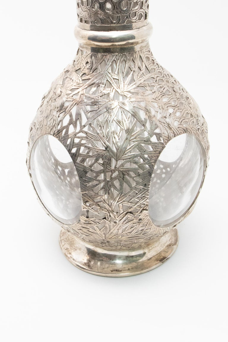 Asian Decanter Silver Over Glass, Late 19th Century For Sale 6
