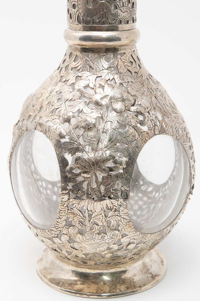 Asian Decanter Silver Over Glass, Late 19th Century In Fair Condition For Sale In Cookeville, TN