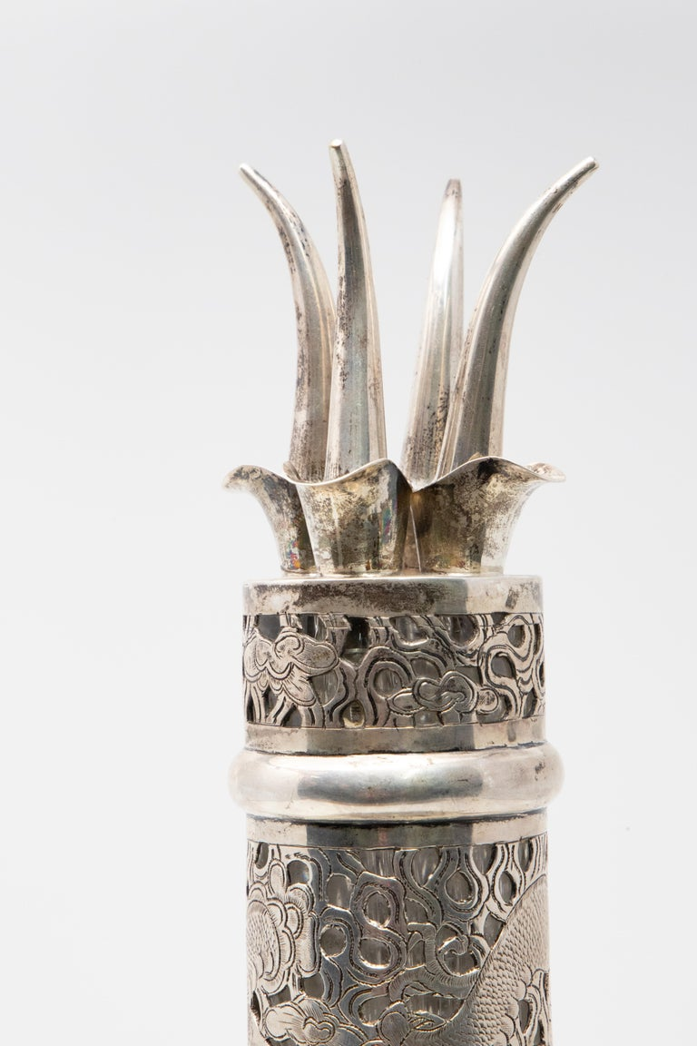 Sterling Silver Asian Decanter Silver Over Glass, Late 19th Century For Sale