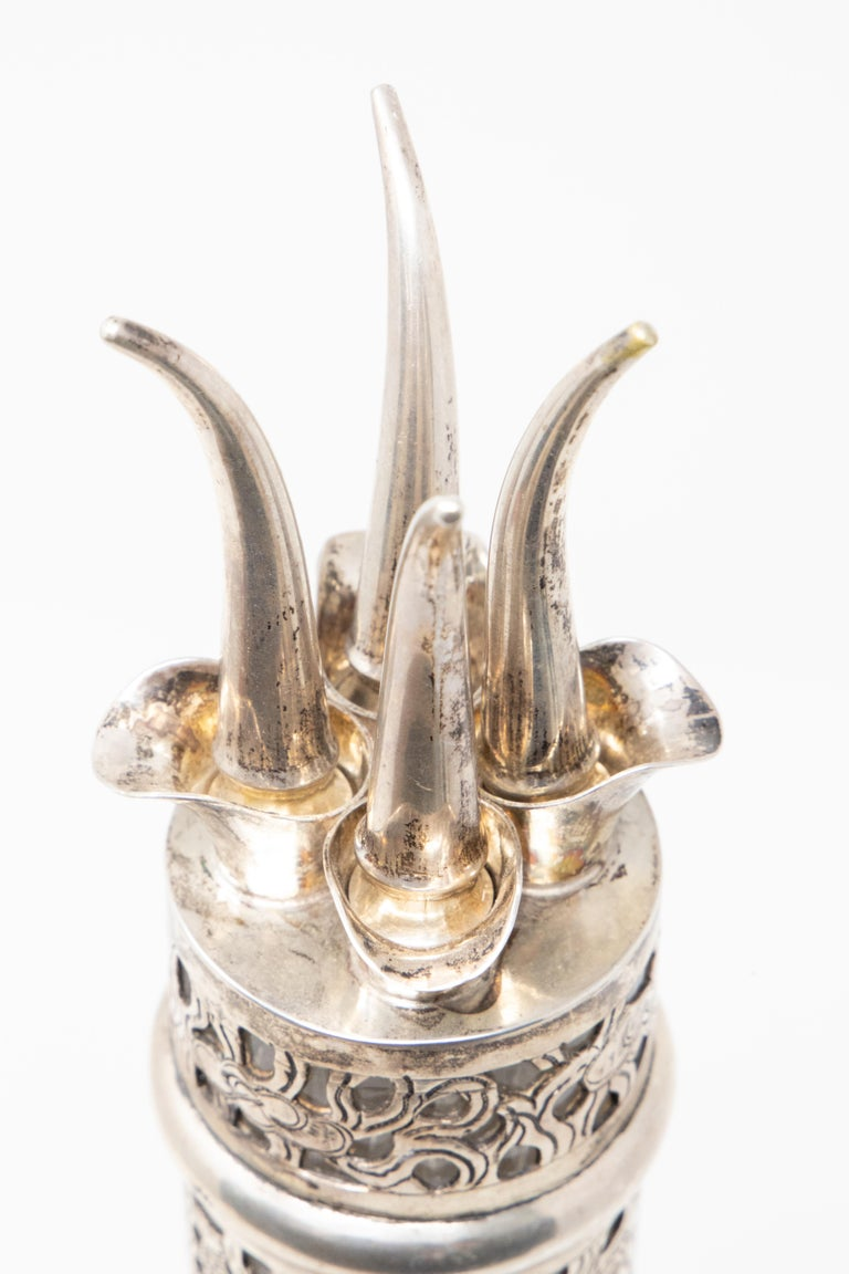 Asian Decanter Silver Over Glass, Late 19th Century For Sale 1