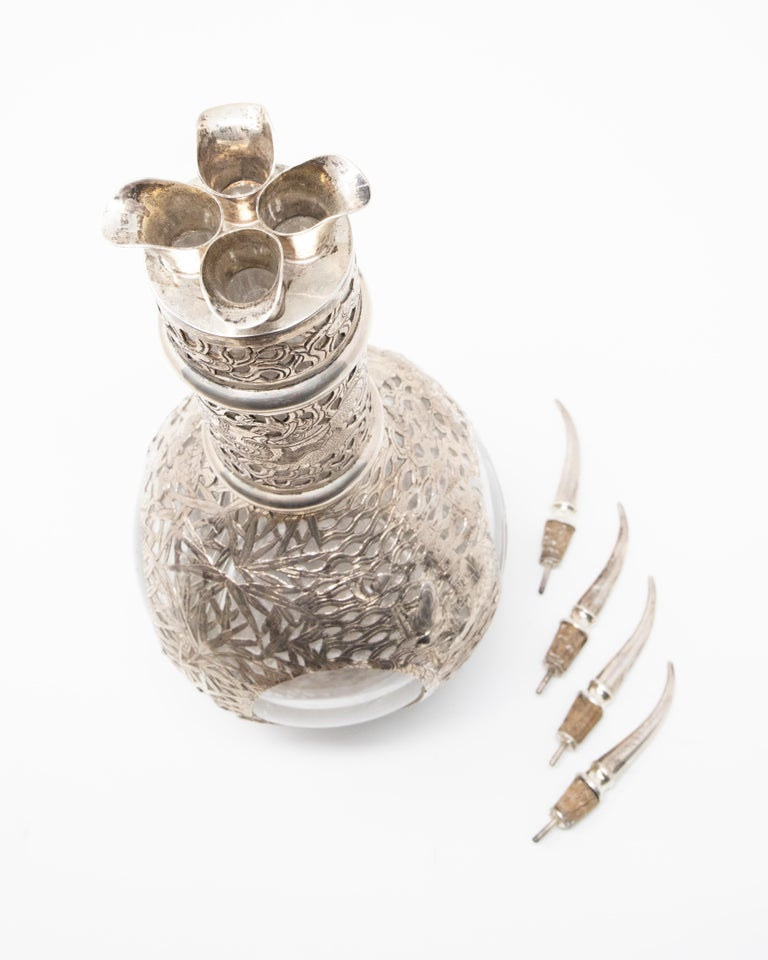 Asian Decanter Silver Over Glass, Late 19th Century For Sale 2
