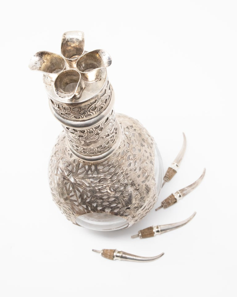Asian Decanter Silver Over Glass, Late 19th Century For Sale 3