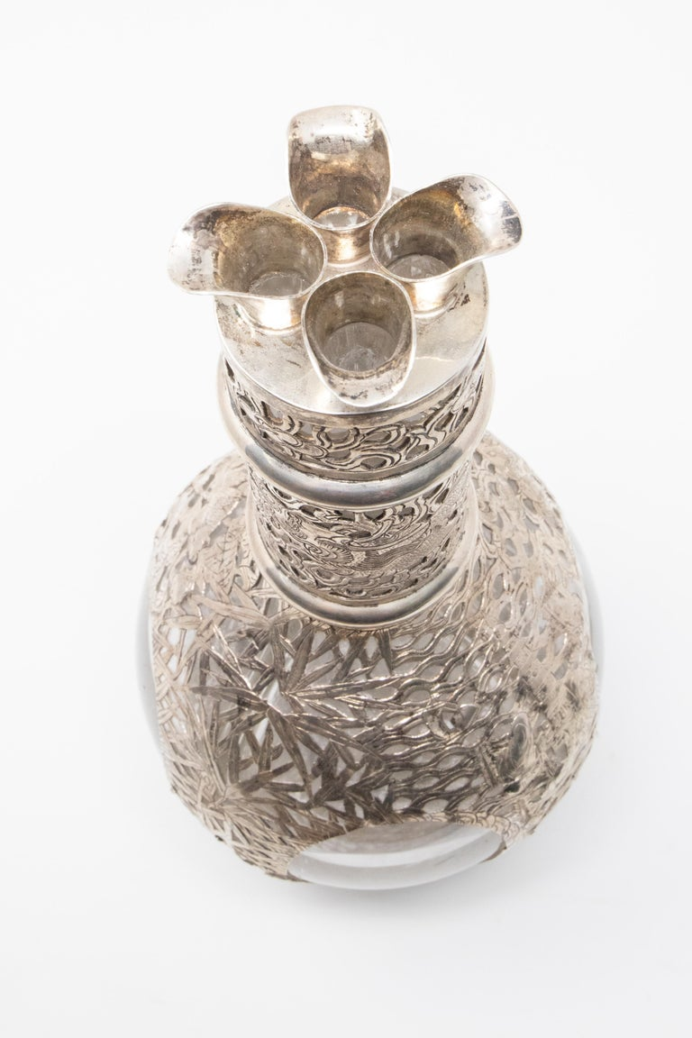 Asian Decanter Silver Over Glass, Late 19th Century For Sale 4