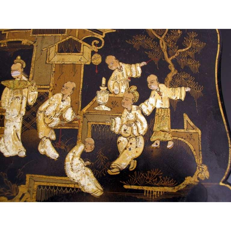 Asian Decor Jewelry Box in Black Lacquer Napoleon III For Sale 3