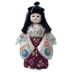 Asian Ceramic and Textile Doll Wearing Kimono