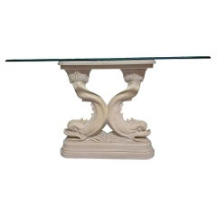 Asian Dolphin Fish Sculptural Console Table