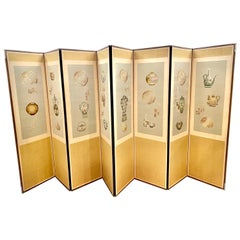 Asian Eight Panel Silk Embroidered Folding Screen Room Divider