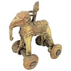 Asian Elephant Bronze Brass Figure on Wheels