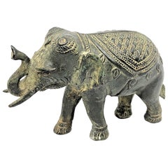 Asian Elephant Bronze Brass Sculpture Statue Vintage, 1950s