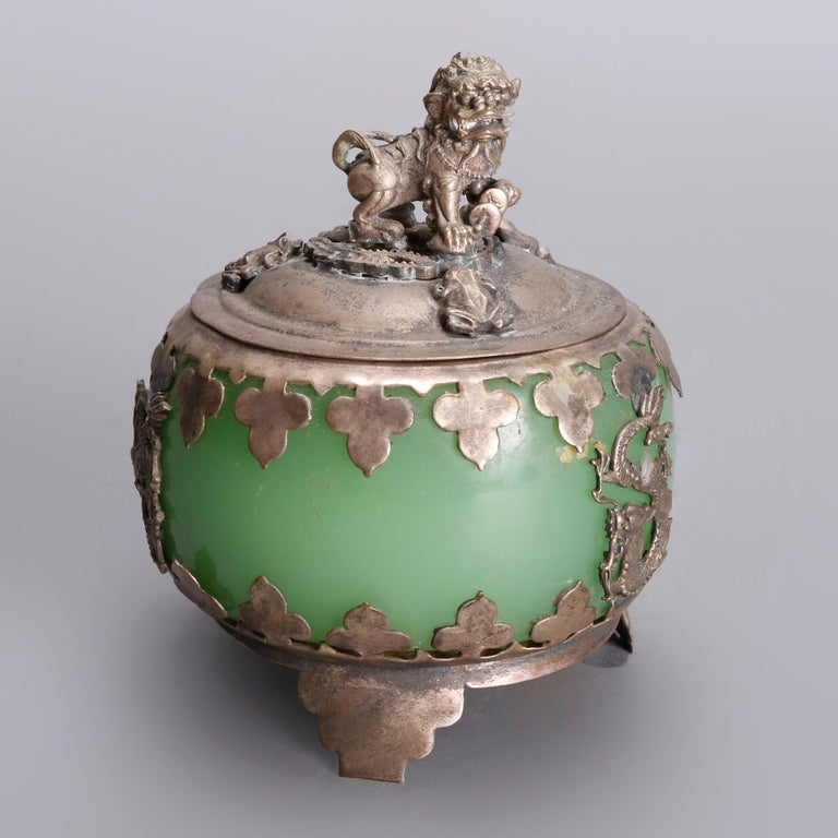 Cloissoné Asian Figural Jade, Cloisonné and Silver Teapots and Covered Jar, 20th Century For Sale