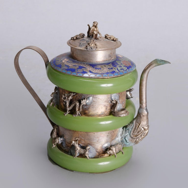 Asian Figural Jade, Cloisonné and Silver Teapots and Covered Jar, 20th Century In Good Condition For Sale In Big Flats, NY