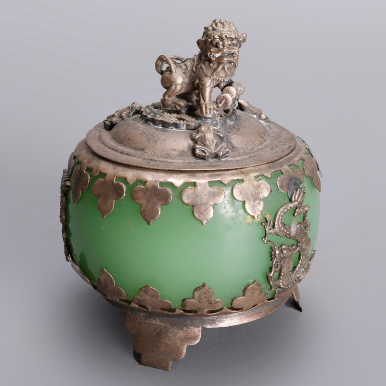 Asian Figural Jade, Cloisonné and Silver Teapots and Covered Jar, 20th Century For Sale 1