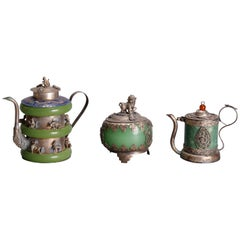 Asian Figural Jade, Cloisonné and Silver Teapots and Covered Jar, 20th Century
