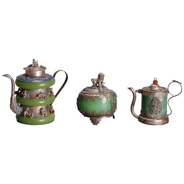 Asian Figural Jade, Cloisonné and Silver Teapots and Covered Jar, 20th Century For Sale