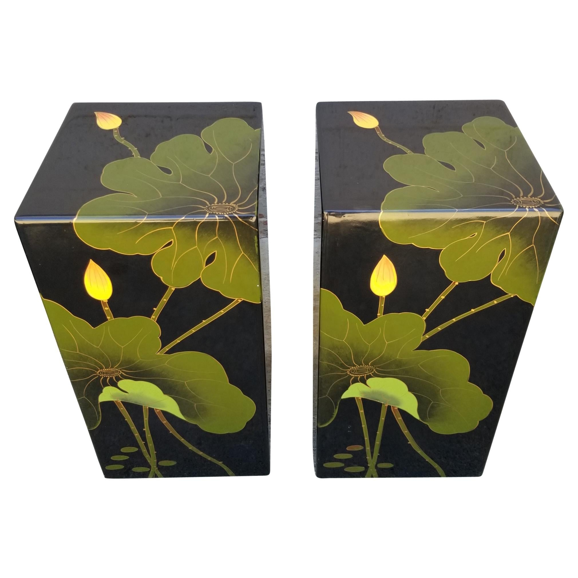 Asian Floral Lacquer Stools or Pedestals a Pair