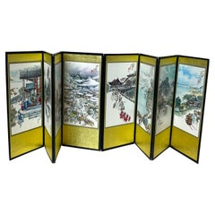 Asian Folding Mini Screen Eight Panels in Gold Scenic Art with Chinese Writing