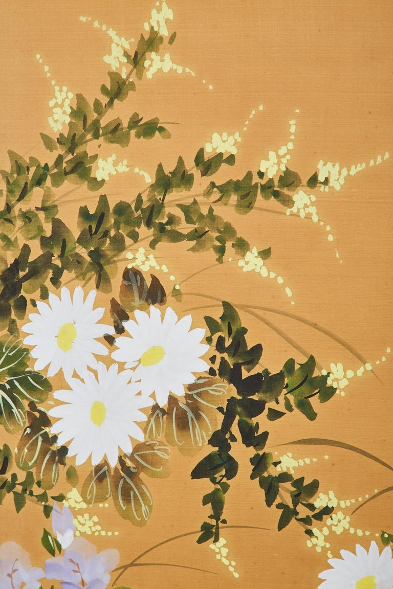 Asian Four-Panel Screen or Autumn Flowers in Bloom For Sale 3