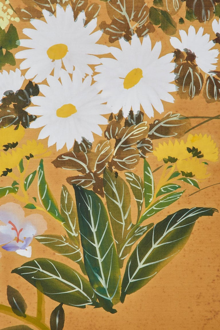 Asian Four-Panel Screen or Autumn Flowers in Bloom For Sale 4