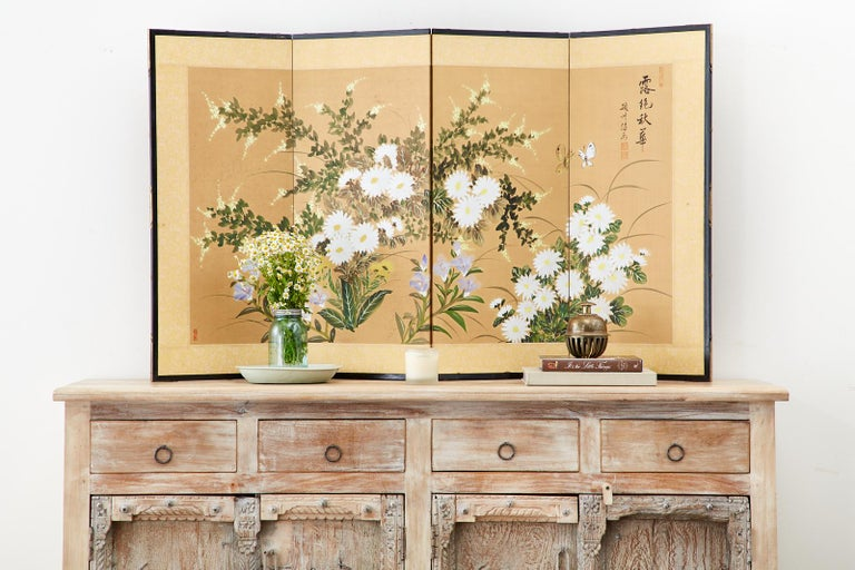 Asian Four-Panel Screen or Autumn Flowers in Bloom For Sale 6