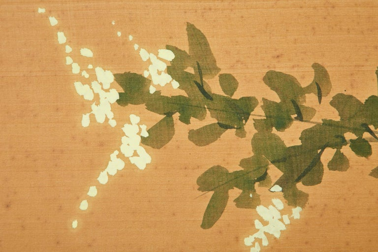 Asian Four-Panel Screen or Autumn Flowers in Bloom For Sale 9
