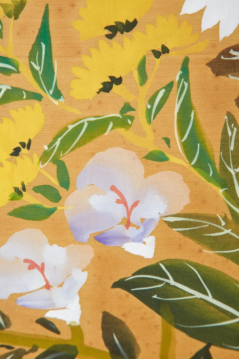 Asian Four-Panel Screen or Autumn Flowers in Bloom For Sale 11