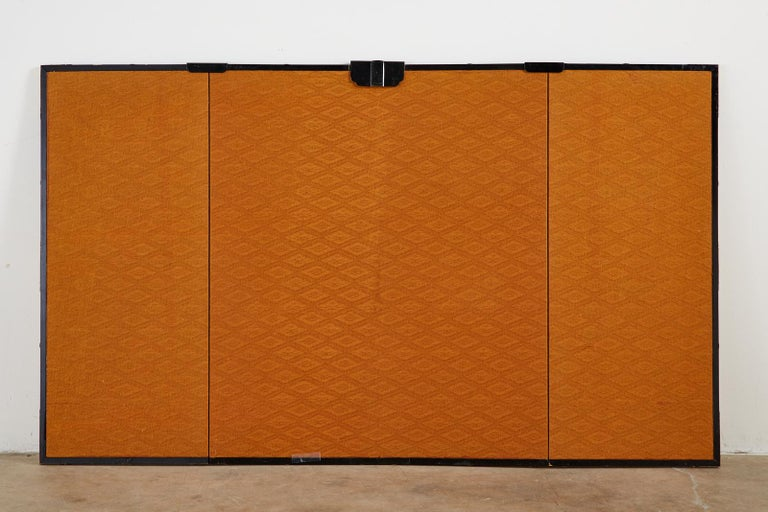 Asian Four-Panel Screen or Autumn Flowers in Bloom For Sale 12