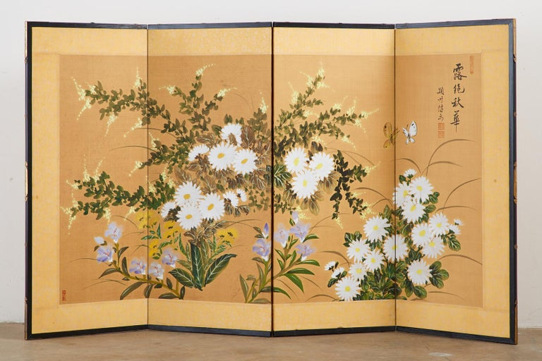 Chinese Export Asian Four-Panel Screen or Autumn Flowers in Bloom For Sale