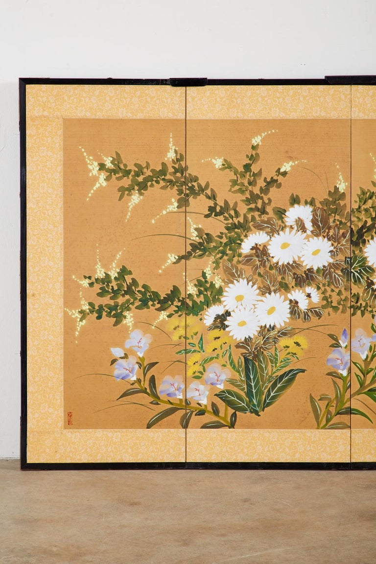 Chinese Asian Four-Panel Screen or Autumn Flowers in Bloom For Sale